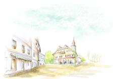 手绘水彩欧式街景风光插画图片