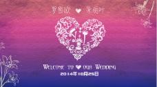 紫色浪漫婚礼背景图片PSD