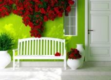 室内长椅墙壁鲜花布置图片