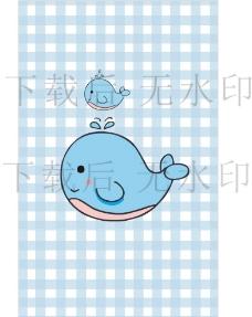 可爱蓝色手绘小鲸鱼卡通矢量图图片