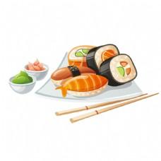 寿司美食矢量素材图片