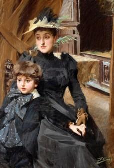母子油画人物