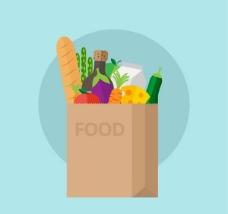 装满食物的纸袋矢量素材下载