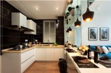 简约餐厅白色橱柜装修室内效果图