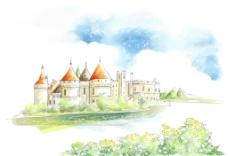 手绘水彩欧式城堡风景插画图片