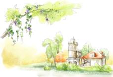 手绘水彩欧式建筑风景插画图片