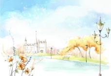手绘水彩城市风景插画图片