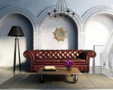 皮沙发的客厅图片