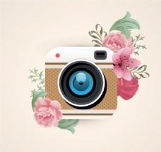 照相机和花卉设计矢量素材