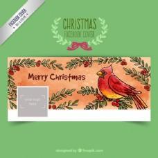 手画圣诞鸟脸谱网盖