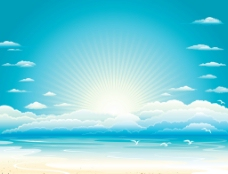 矢量风景漫画海滩蓝天白云图片
