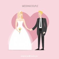 可爱的婚礼对夫妇的背景