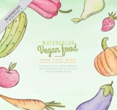 手绘健康蔬菜背景