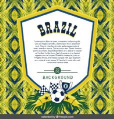 巴西足球徽章抽象背景