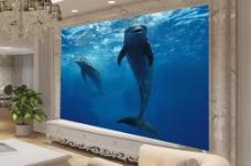 海洋海豚背景墙效果图