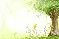 手绘水彩梦幻自然风景插画图片