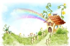 手绘水彩自然风光风景插画图片