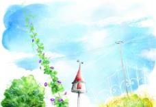 手绘水彩自然风光插画图片