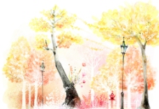 手绘水彩风景插画图片
