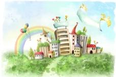 手绘水彩城镇风光插画图片