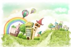 手绘水彩城镇风光风景插画图片