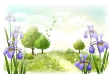 手绘水彩野外风景插画图片