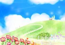 手绘自然风景插画图片