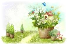手绘水彩盆栽房屋插画图片