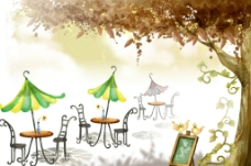 手绘水彩休闲吧风景插画图片