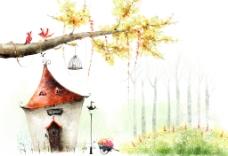 手绘水彩郊外风景插画图片