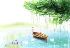 手绘水彩湖面风景插画图片