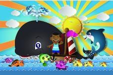 卡通航海儿童和鱼