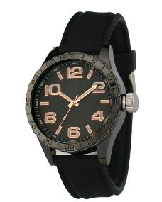 黑色黑面胶带手表图片
