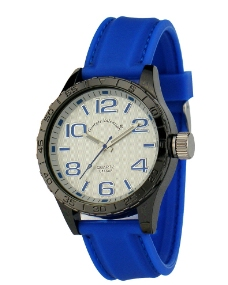 蓝色白面胶带手表图片