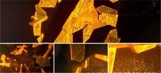 黄金粒子金块金沙拼成标志动画