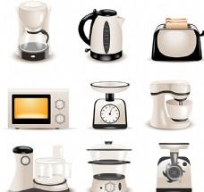 时尚厨房电器设计矢量素材图片