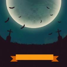 万圣节月夜墓地海报矢量图