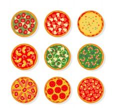 水彩缤纷美味的披萨