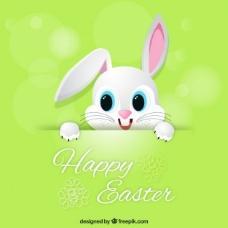 可爱的兔子的绿色复活节卡片