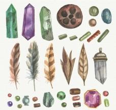 用水彩效果的宝石波希米亚元素包