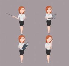 4款商务女性设计矢量素材