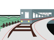 手绘扁平卡通火车装饰素材