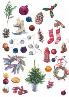 圣诞节元素水彩手绘素材