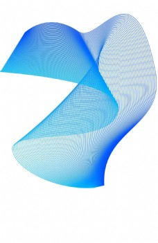 蓝色弯曲波线科技png元素
