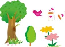 树木 花朵 插画图片