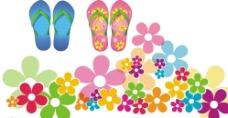 卡通花朵素材 拖鞋图片