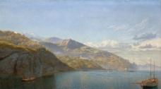 河流风景油画图片