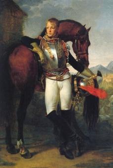 站在马旁的骑士图片
