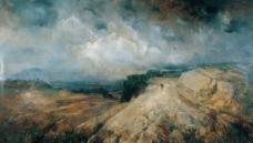 山岩风景油画图片