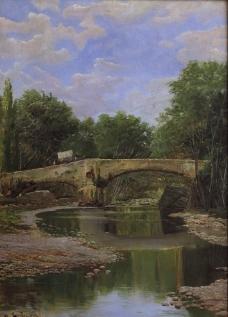 拱桥油画图片
